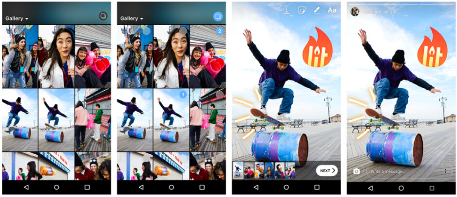 After tapping the new icon in the upload media section, you'll pick up to ten photos or videos from your gallery. These will appear at the bottom of the screen where you individually edit each one and upload them all to your Story at one time - Instagram update makes it easier to upload photos and videos to Stories