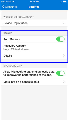 Microsoft Authenticator on IOS receiving new backup feature