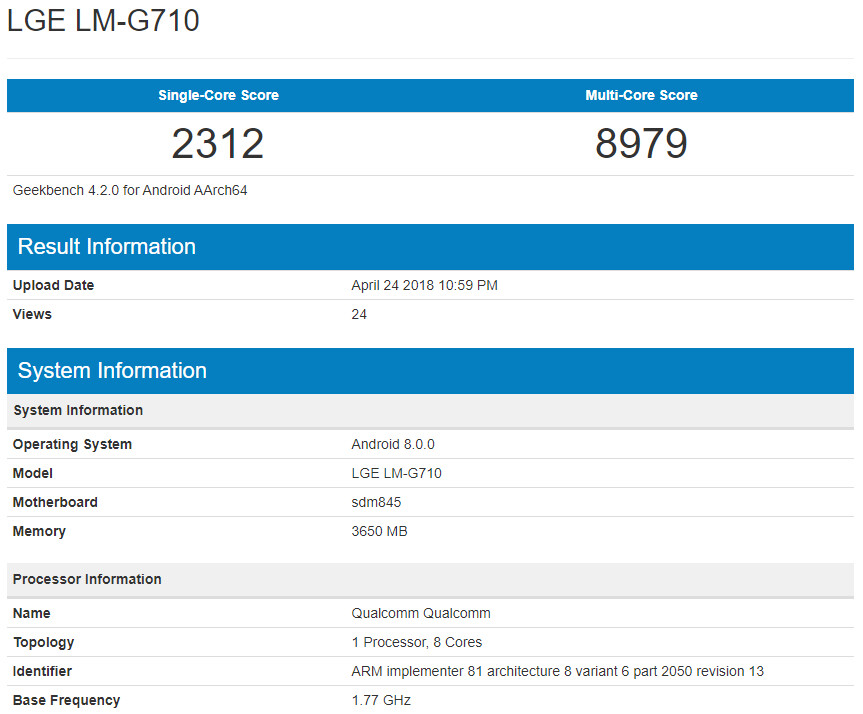 First LG G7 benchmark leaks some underwhelming specs