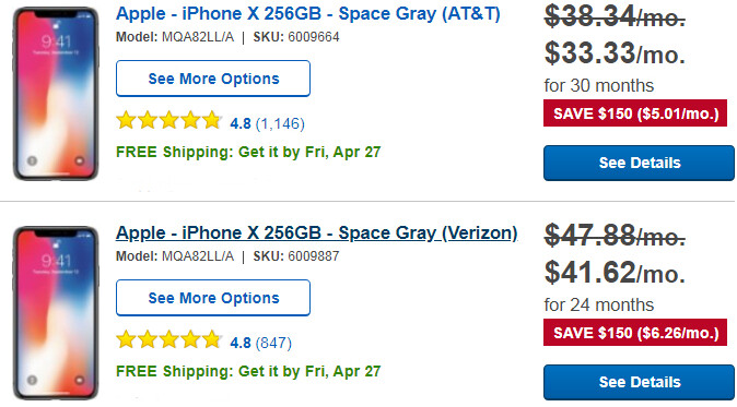Deal: Save up to $150 on the iPhone X (Verizon, AT&T)