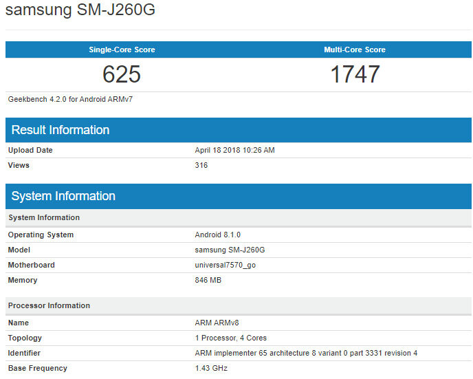 The Galaxy J2 Core could be Samsung's first Android Go smartphone