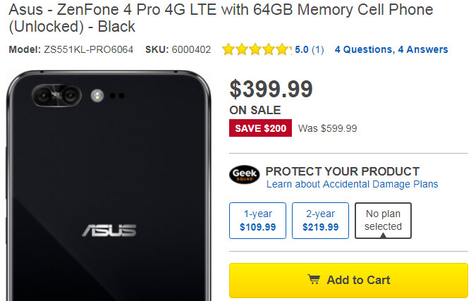 Deal: High-end Asus ZenFone 4 Pro now costs just $399 ($200 off)