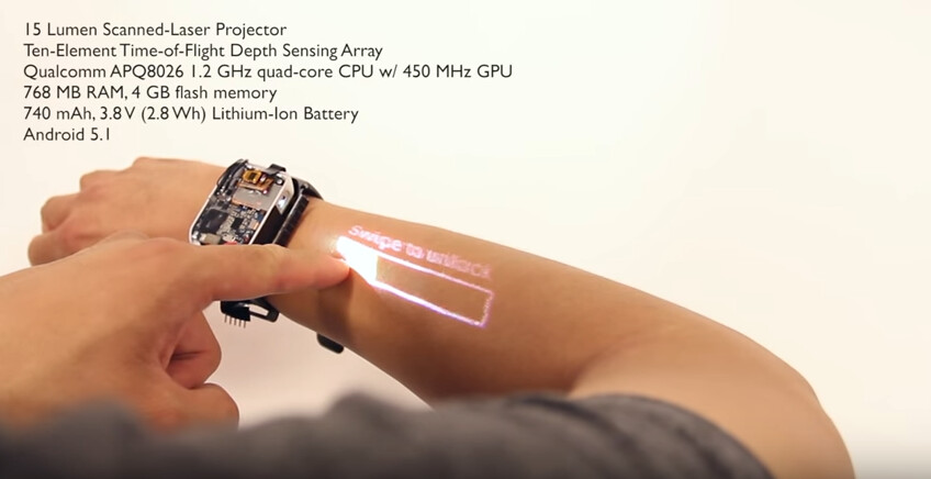 The LumiWatch projects an interactive touchscreen on the user's arm - Smartwatch prototype turns your arm into a touchscreen