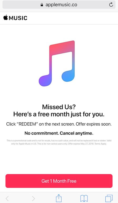 Apple is giving a free month of Apple Music to some past trial members who did not subscribe - Apple Music is giving a free month to some who tried the three-month trial but didn't subscribe