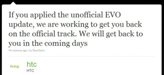 Update is in the works for those who applied the unofficial Froyo update for the EVO 4G