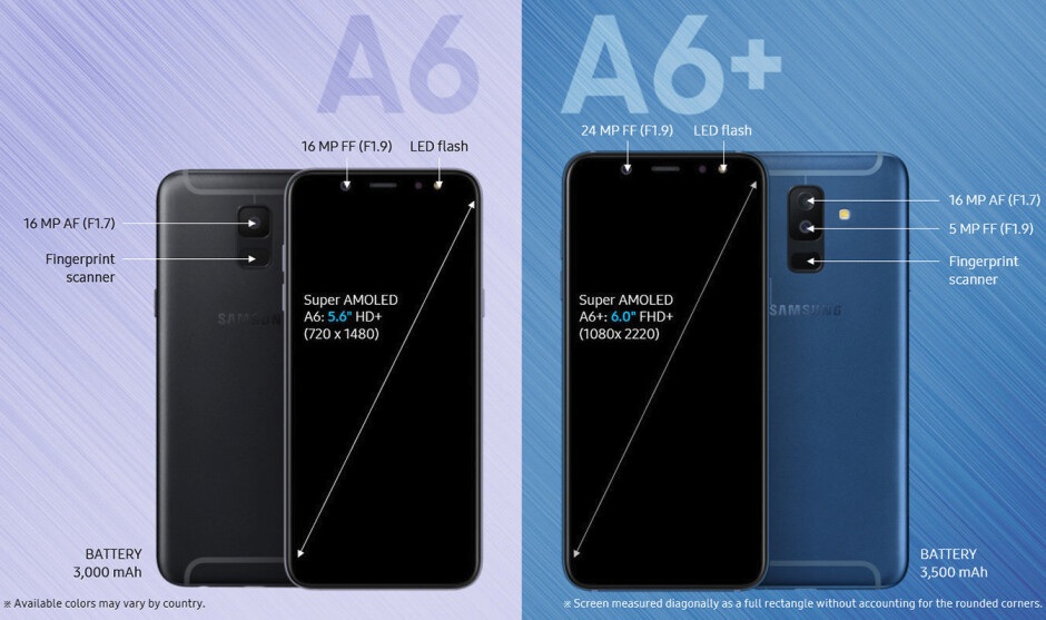 Samsung lists the Galaxy A6 and A6+ on its official website with full specs in tow