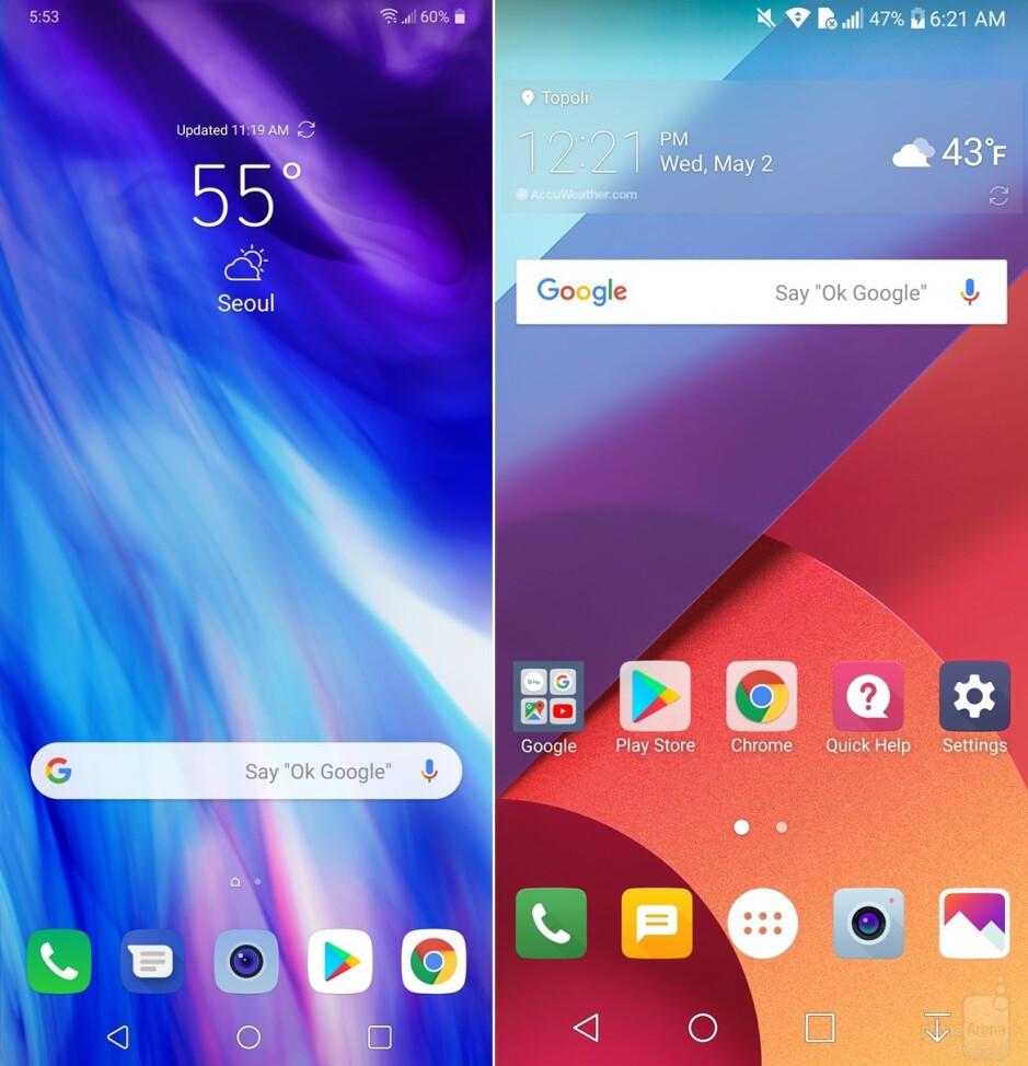 LG G7 ThinQ (left) vs LG G6 (right) - LG G7 UI comparison vs LG G6: A walkthrough of the interface