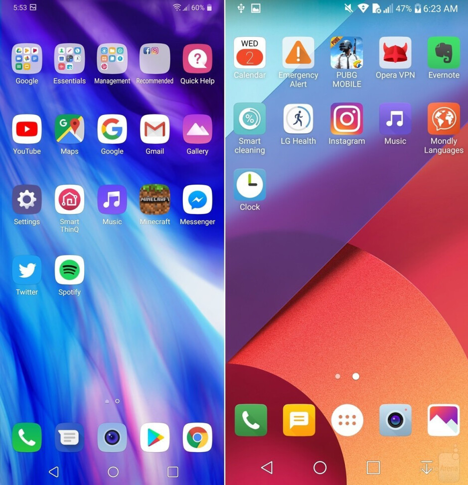 LG G7 ThinQ (always left) vs LG G6 (always right) - LG G7 UI comparison vs LG G6: A walkthrough of the interface