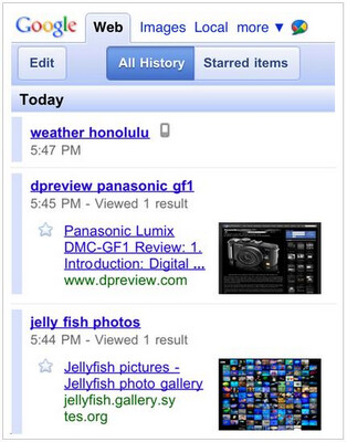 Google upgrades mobile search response to include your Search History
