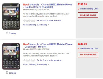 Best Buy has the Motorola CHARM priced online at $250 & $350 no-contract