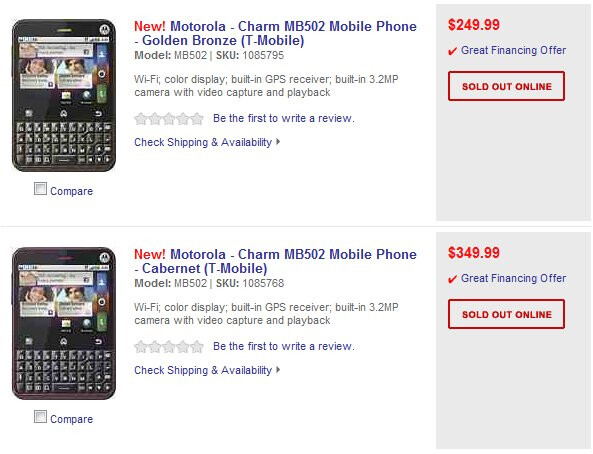 best buy has the motorola charm priced at 250