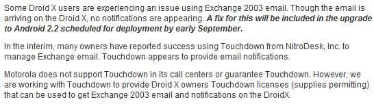 Motorola says DROID X to get Android 2.2 update in early September