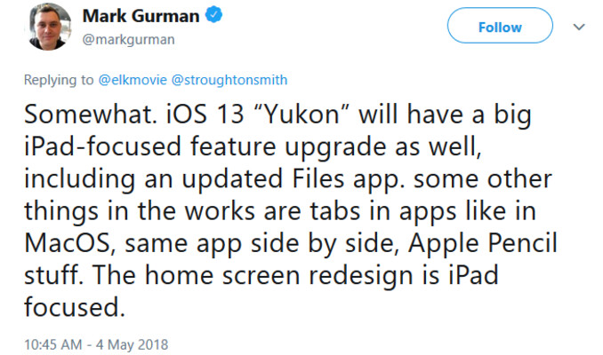 "Bloomberg writer Mark Gurman reveals what we can expect from 2019's iOS 13 - 2019's iOS 13 ""Yukon"" to focus on iPad improvements, redesigned home screen and more"