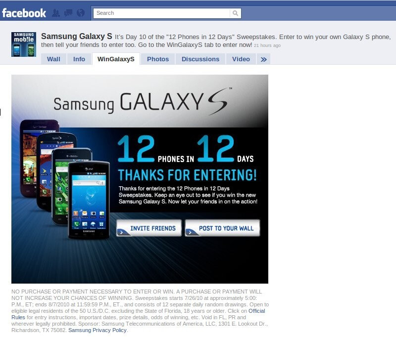 Win a free Samsung EPIC 4G or Fascinate today and tomorrow!