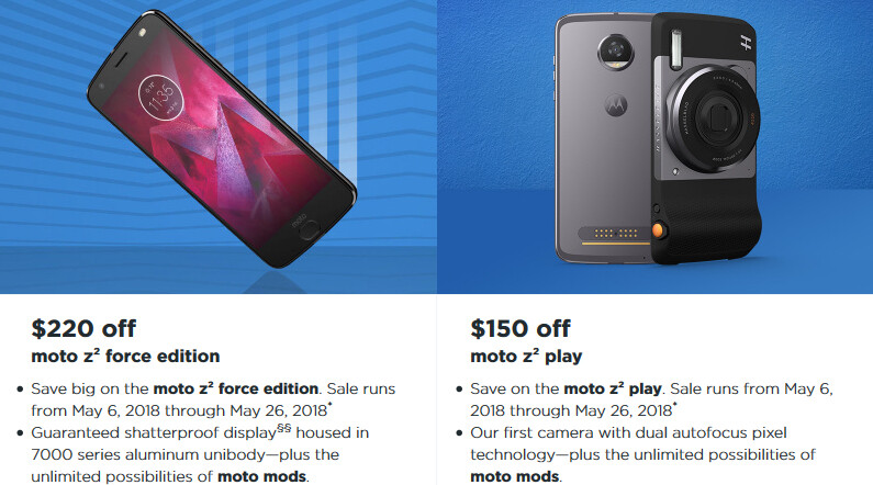 Motorola takes up to $220 off its best phones: Moto Z2 Force, Z2 Play, X4