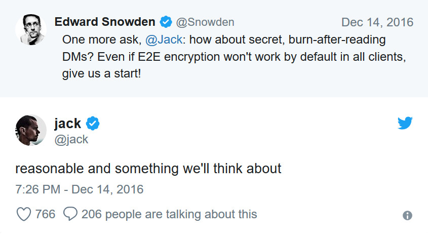 Snowden and Dorsey discuss private DMs for Twitter - Twitter has secret encryption feature on its Android app?