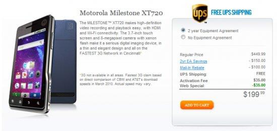 The Motorola MILESTONE XT720 is now on sale through Cincinnati Bell