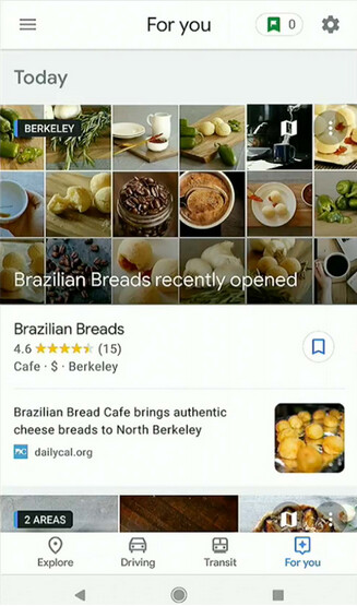"""For You provides Google Map users with local recommendations on where to eat or hang out - Google Maps to add new features including """"For You"""" and """"Your Match"""""""