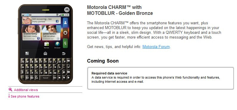 Motorola CHARM's appearance on T-Mobile's site hints to an inevitable launch