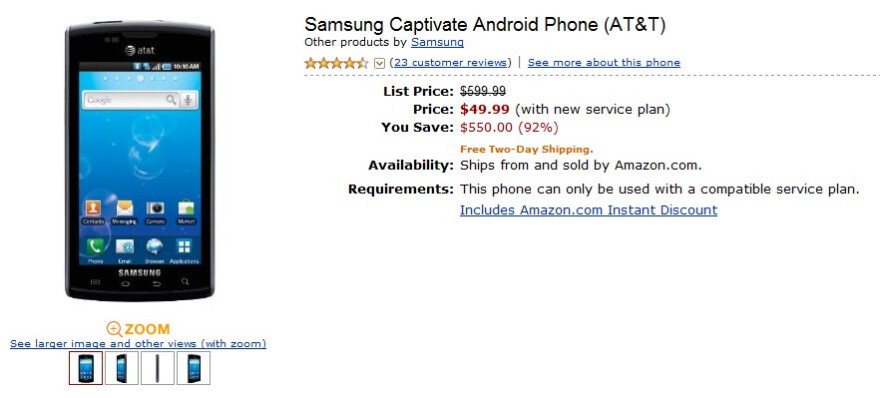 Samsung Captivate drops in price to $49.99 on-contract through Amazon