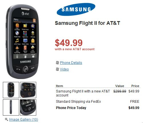 Samsung Flight II is now available through RadioShack for $49.99