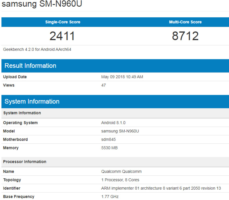 New Galaxy Note 9 benchmark test surfaces: US version of the phone likely has 6 GB of RAM