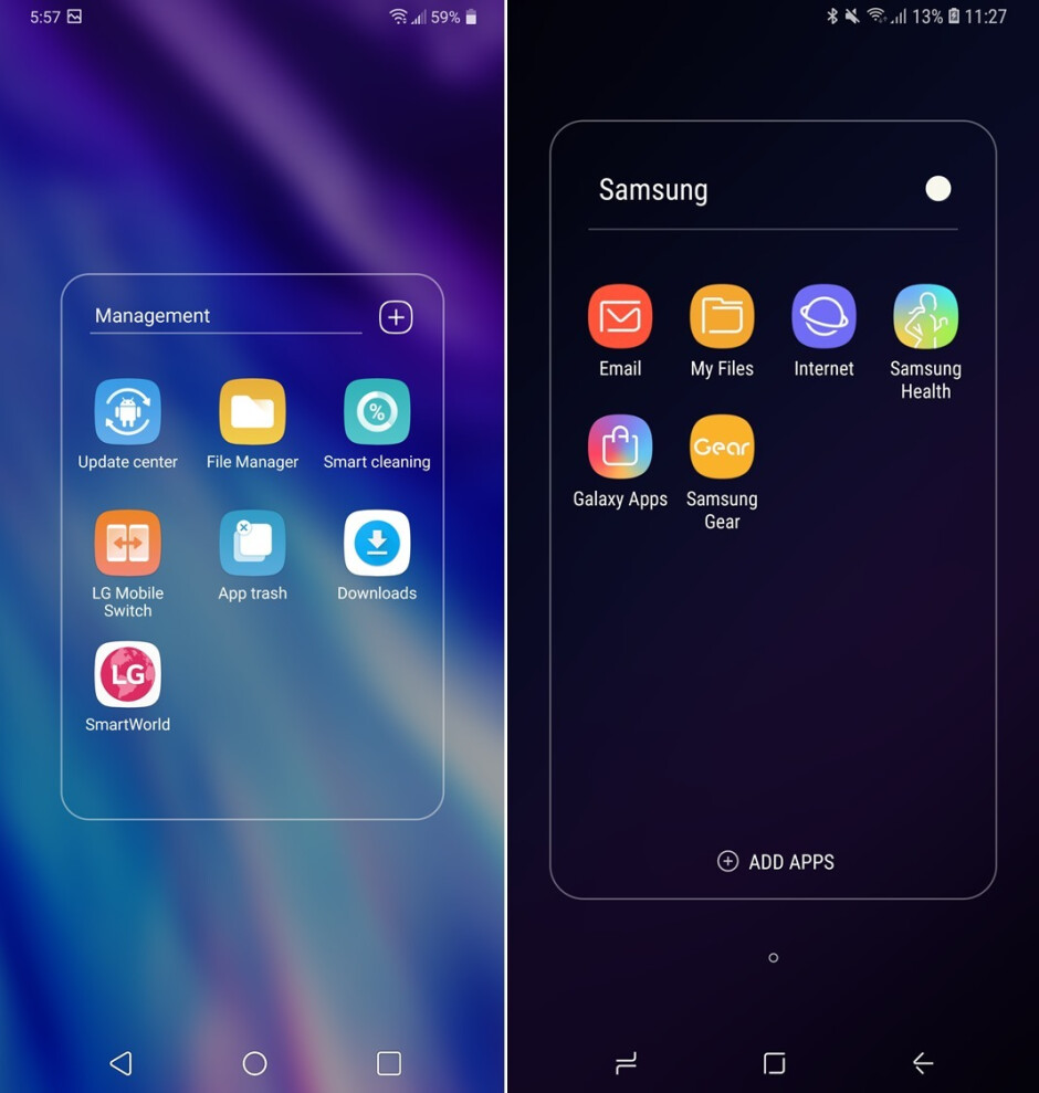 LG G7 ThinQ (left) vs Samsung Galaxy S9 (right) - LG G7 ThinQ vs Samsung Galaxy S9: Visual interface comparison