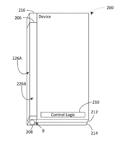 Images from Microsoft's patent application for a third hinge screen for its foldable device