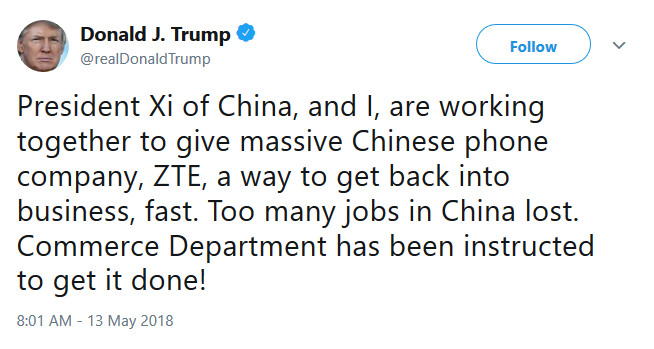 The president says he is working on getting ZTE up and running again - Trump says he wants the Commerce Department to lift ZTE's export ban