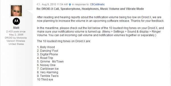 """Motorola plans to address DROID X volume issues in an """"upcoming"""" software release"""