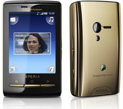 X10 mini pro in pink (L) & X10 mini in gold (R) - Sony Ericsson is adding a gold Xperia X10 mini & pink X10 mini pro