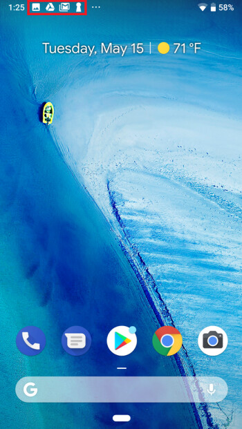 Android P shows only four notification icons on the status bar
