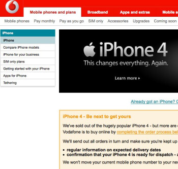 Vodafone sells out of the pay-as-you-go iPhone 4 in less than a day