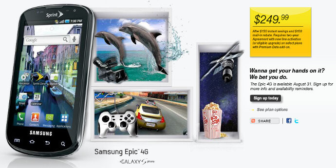 Samsung Epic 4G coming August 31 for $249.99 - Sprint's second 4G device to have Epic launch August 31st