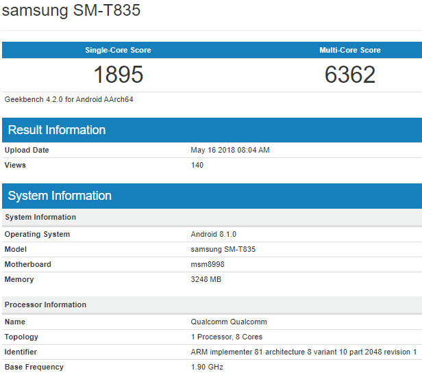 Samsung Galaxy Tab S4 spotted in benchmark listing with Snapdragon 835 CPU