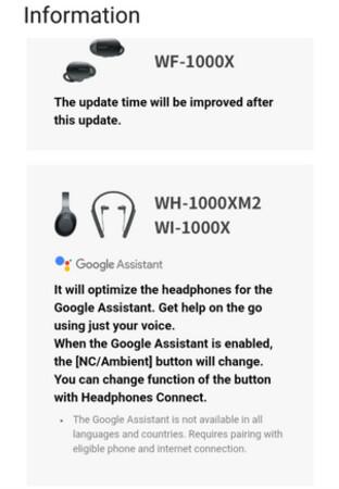 Sony hält das Update an, das Siri durch Google Assistant auf zwei Headsets