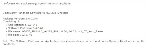 AT&T outs OS 6.0.0.141 for the Torch 9800 for those who want to tinker around