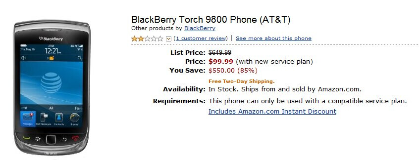 Amazon comes out with a great low price of the BlackBerry Torch 9800 at just $99.99