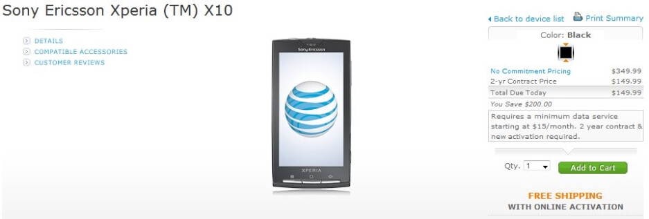 Sony Ericsson Xperia X10 is now available for sale at $149.99 through AT&T