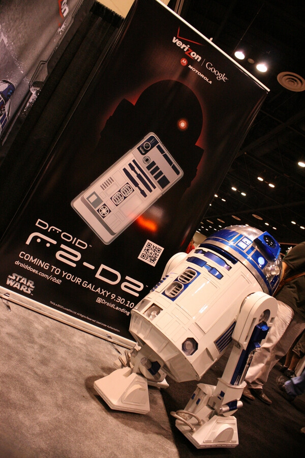 R2-D2 poses for photo opportunity at Star Wars convention in Orlando