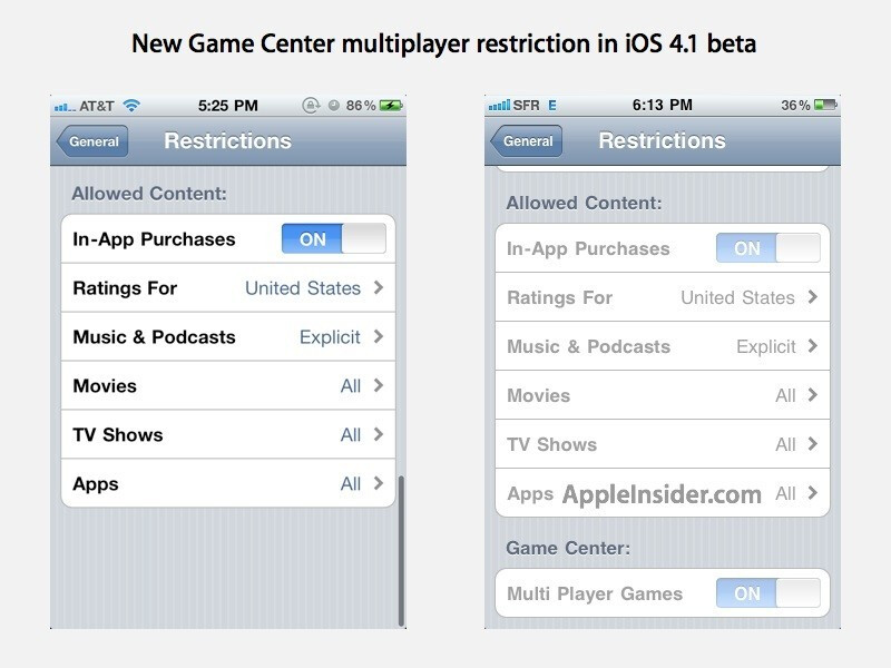 Game Center multiplayer restriction appears in developer's builds of iOS 4.1