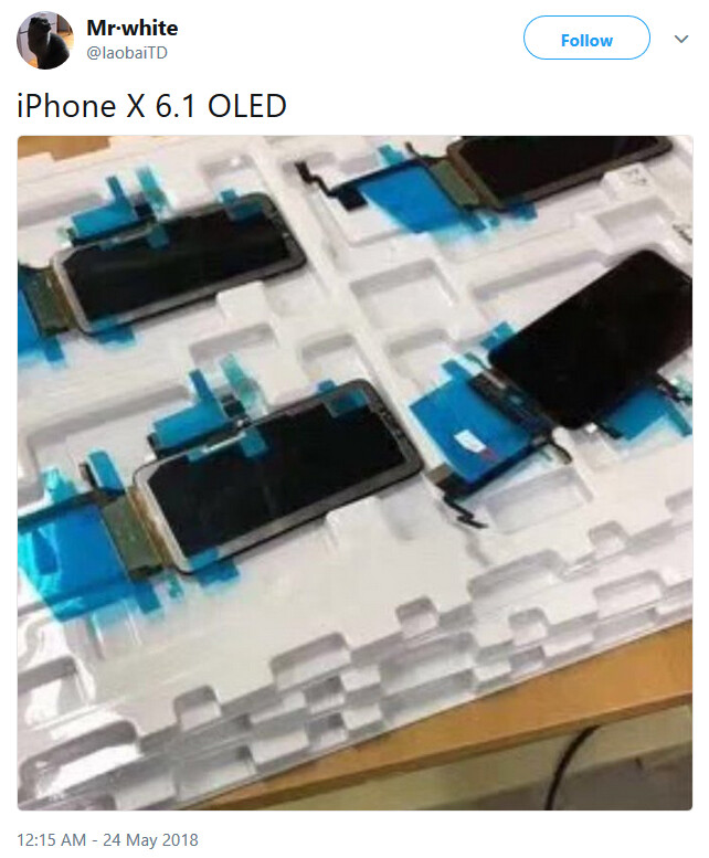 Tweet claims that the low-end 6.1-inch Apple iPhone model will allegedly feature an OLED panel - Picture allegedly shows OLED panels for the 6.1-inch low-end Apple iPhone 9