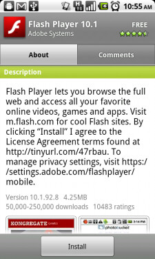 "Final build for Nexus One Flash Player 10.1; DROID to get its version ""later this summer"""
