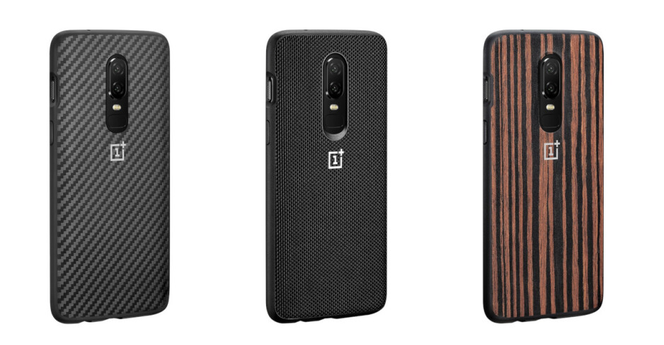 Bumper cases (karbon, nylon, wood, from left to right) engulf the phone from all sides - Best OnePlus 6 cases
