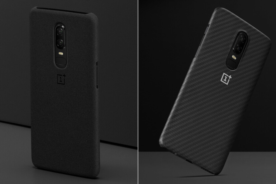 These lighter cases (sandstone is left, karbon - right) don't cover the top or bottom of the phone, but don't add as much bulk either - Best OnePlus 6 cases