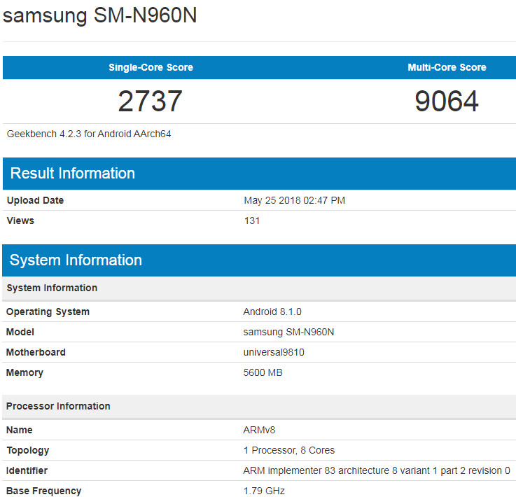 Samsung Galaxy Note 9 with Exynos 9810 processor leaks out