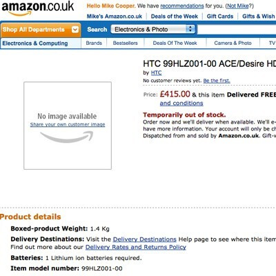 HTC Desire HD takes a headshot at probability, appears with a price on Amazon UK