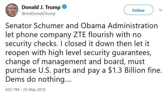"""The president confirmed the ZTE deal with a tweet sent Friday afternoon - U.S. Senator: """"ZTE presents a national security threat to the United States"""""""