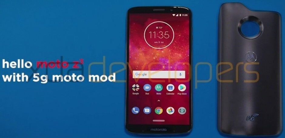 Live photo of the Moto Z3 Play and the 5G Moto Mod - Images of the Moto Z3 Play and a 5G Moto Mod leak