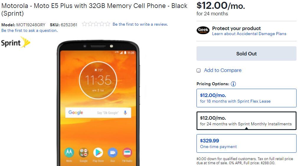 Motorola Moto E5 Plus price revealed (on Sprint) - PhoneArena